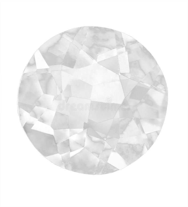 Diamante grande aislado en blanco imagen de archivo