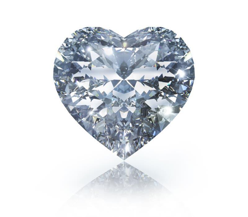 Diamante isolado na forma de um coração no fundo branco ilustração stock