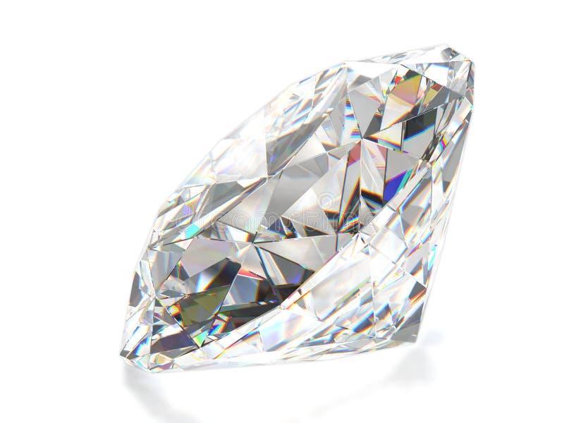 Diamante isolato sulla parte posteriore di bianco. Vista frontale. fotografia stock