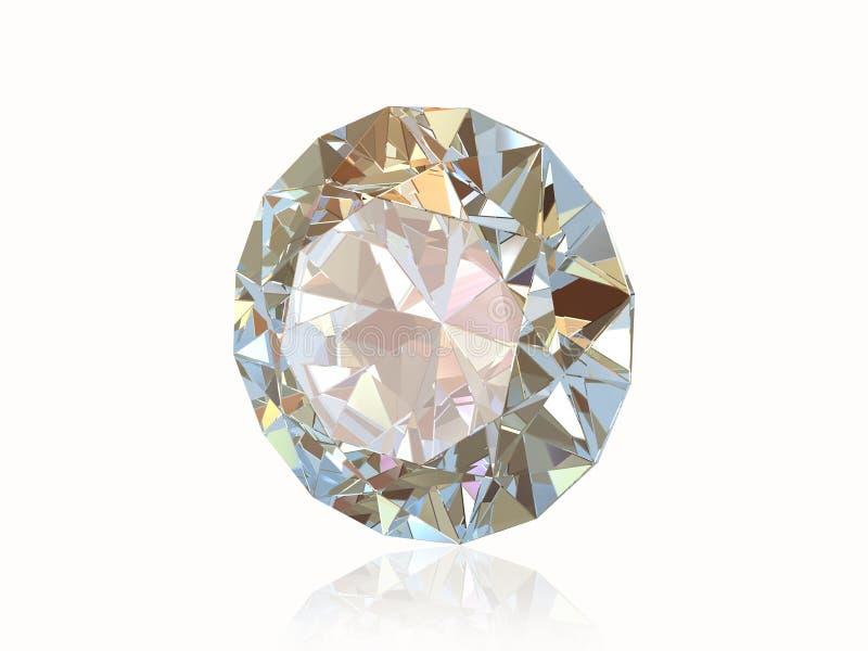 Diamante isolato sulla parte posteriore di bianco. Vista frontale. illustrazione di stock