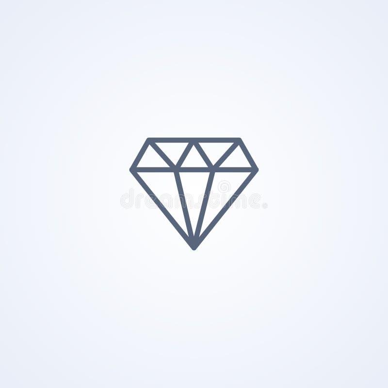Diamante, la mejor línea gris icono del vector libre illustration