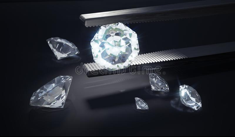 Diamante luxuoso na pinça no fundo preto 3D rendeu a ilustração ilustração do vetor