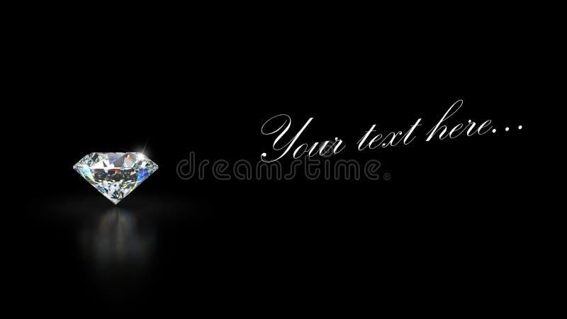 Diamante no fundo preto com reflexão imagem de stock