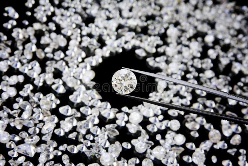 Diamante nos Tweezers fotografia de stock royalty free