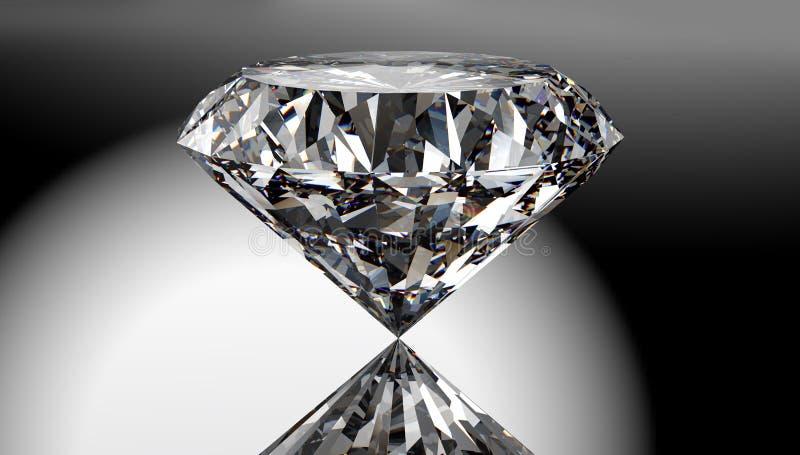 Diamante perfeito isolado no fundo brilhante com trajeto de grampeamento ilustração royalty free
