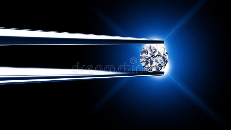 Diamante prendido por tweezers ilustração do vetor