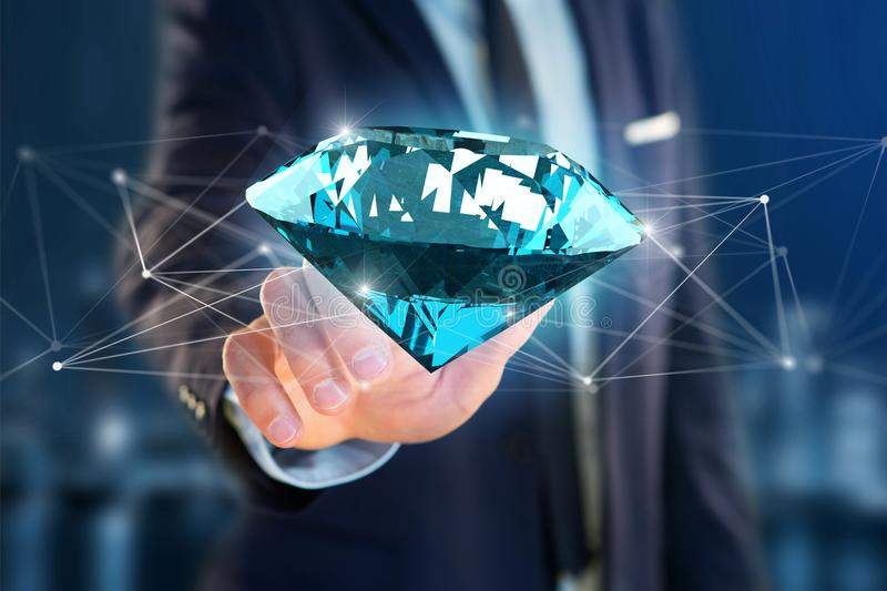 Diamante que shinning na frente das conexões - 3d rendem ilustração stock