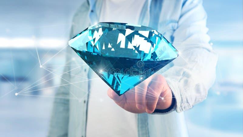 Diamante que shinning na frente das conexões - 3d rendem ilustração do vetor