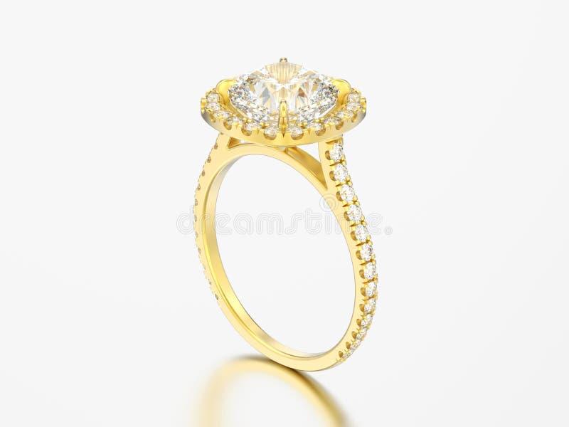 diamante r del cuscino di nozze di impegno dell'oro giallo dell'illustrazione 3D illustrazione di stock