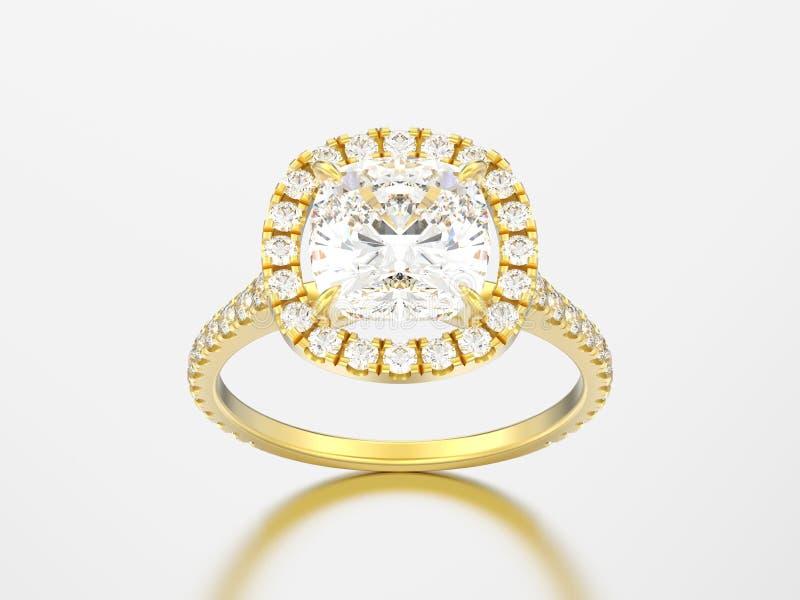 diamante r del cuscino di nozze di impegno dell'oro giallo dell'illustrazione 3D royalty illustrazione gratis