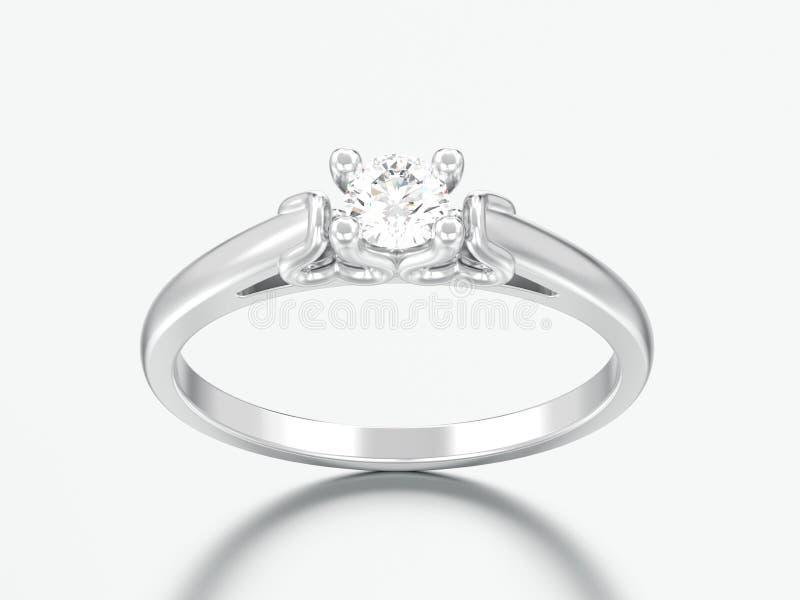 diamante r di nozze del solitario dell'oro bianco o dell'argento dell'illustrazione 3D fotografie stock