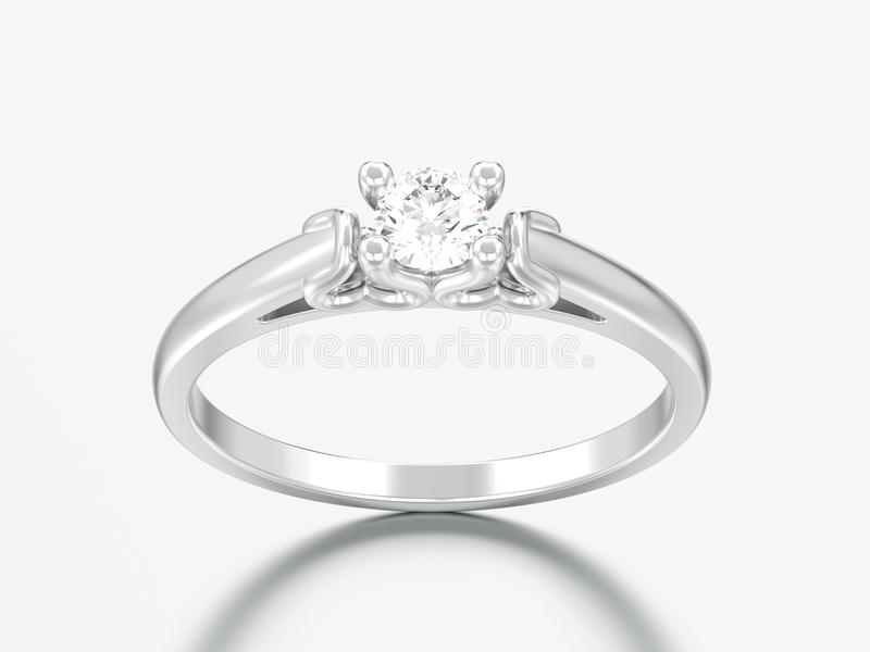 diamante r do casamento do solitário do ouro branco ou da prata da ilustração 3D fotos de stock