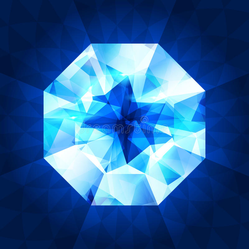 Diamante realistico nella vista superiore su fondo brillante illustrazione di stock
