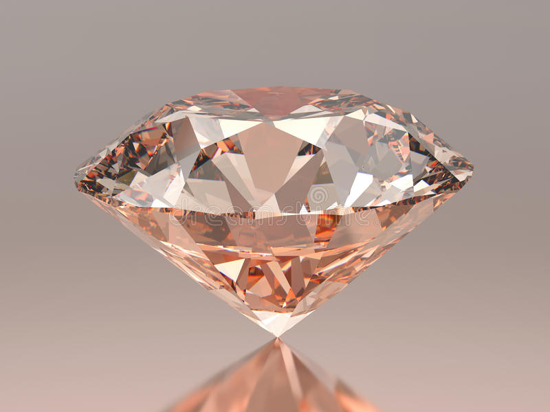 diamante redondo cor-de-rosa vermelho da ilustração 3D no fundo cinzento com reflexão ilustração do vetor