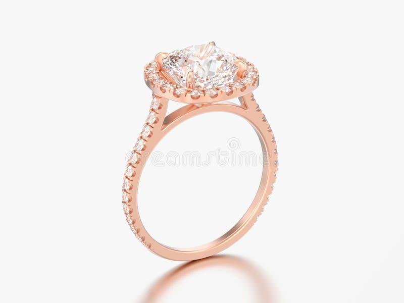 diamante rosa rin del cuscino di nozze di impegno dell'oro dell'illustrazione 3D illustrazione di stock
