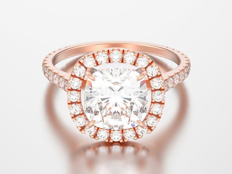 diamante rosa rin del cuscino di nozze di impegno dell'oro dell'illustrazione 3D royalty illustrazione gratis