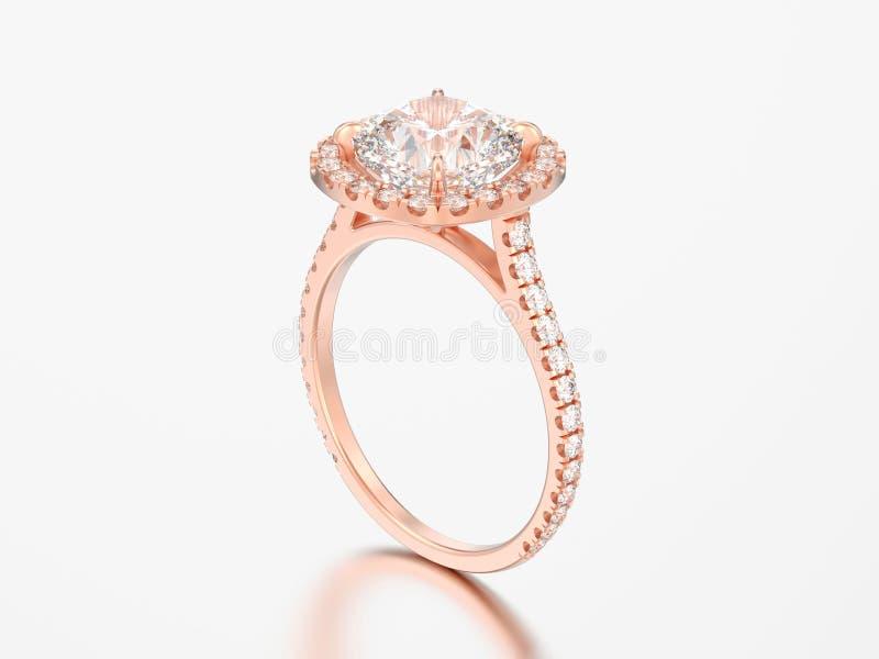 diamante rosa rin del cuscino di nozze di impegno dell'oro dell'illustrazione 3D illustrazione vettoriale