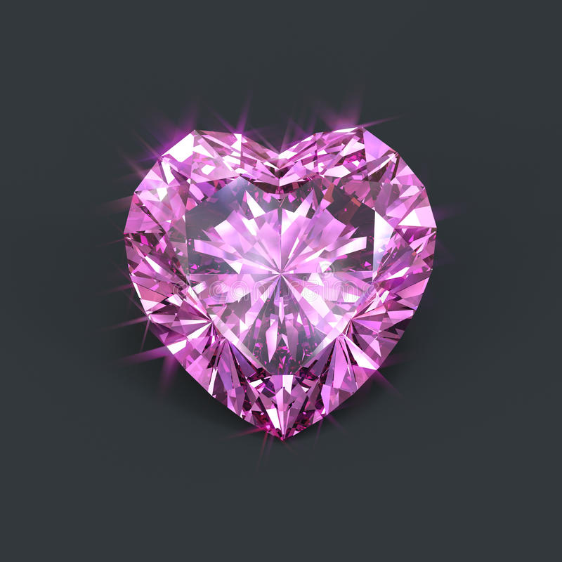 Diamante rosado aislado en forma de corazón stock de ilustración