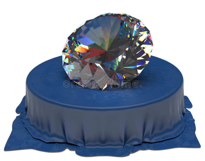 Diamante sobre tela de seda azul ilustración del vector
