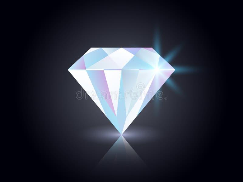 Diamante su fondo scuro Pietra preziosa brillante isolata sul nero Gioiello variopinto realistico Elemento di lusso per la rivist royalty illustrazione gratis