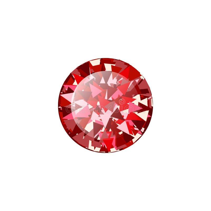 Diamante vermelho real?stico do rubi no fundo branco Ilustra??o do vetor do escarlate de pedra preciosa ilustração royalty free