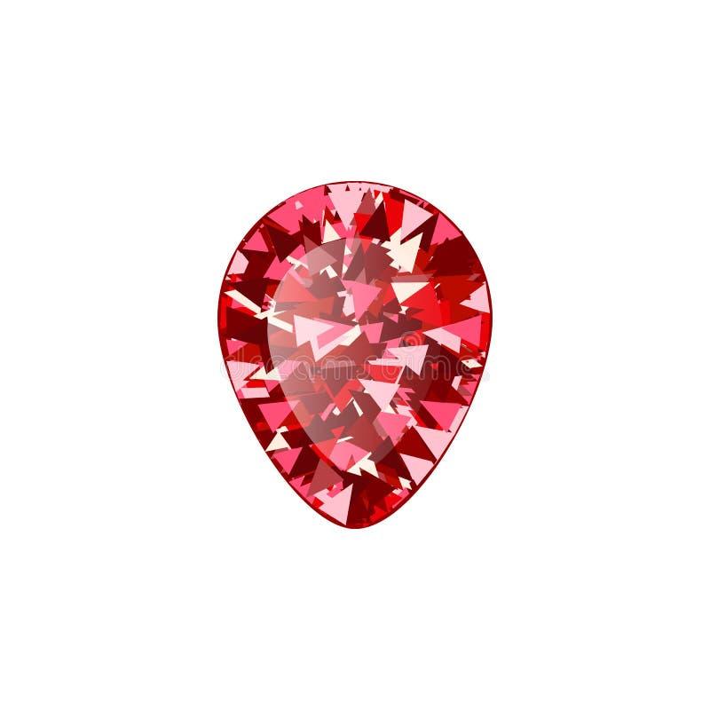 Diamante vermiglio rosso realistico su fondo bianco Illustrazione di vettore del color scarlatto della pietra preziosa illustrazione di stock