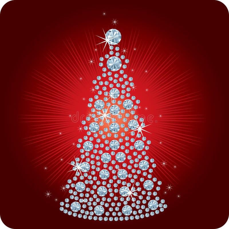Diamante/vetor da árvore de Natal ilustração stock