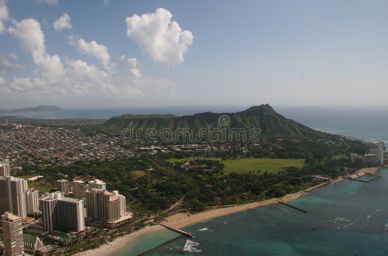 Diamante Vista aereo capo Oahu fotografia stock libera da diritti