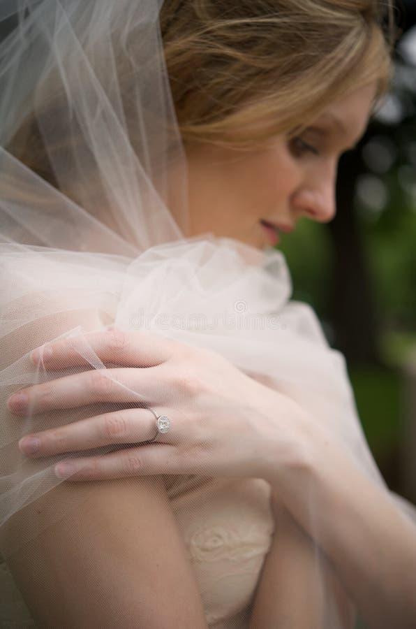 Diamante y velo de la novia fotos de archivo libres de regalías