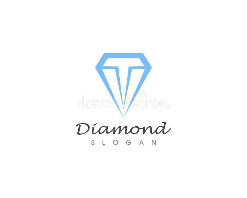Diamantembleem en vectorillustratie royalty-vrije illustratie