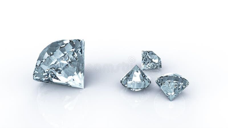 Diamanten bij het wijzen van op lijst en witte achtergrond royalty-vrije illustratie