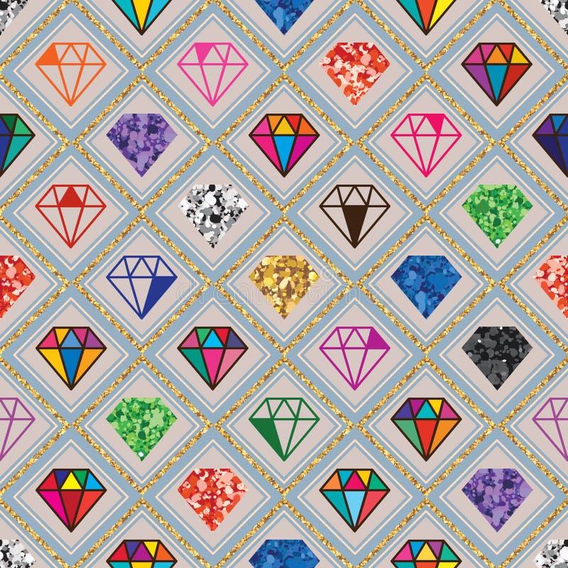 Diamanten blänker den sömlösa modellen för den olika symmetrin royaltyfri illustrationer