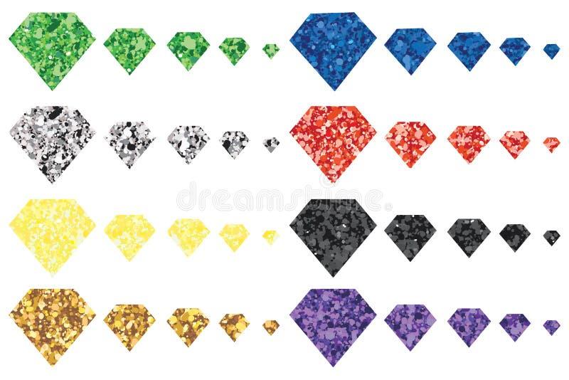 Diamanten blänker färgformuppsättningen vektor illustrationer