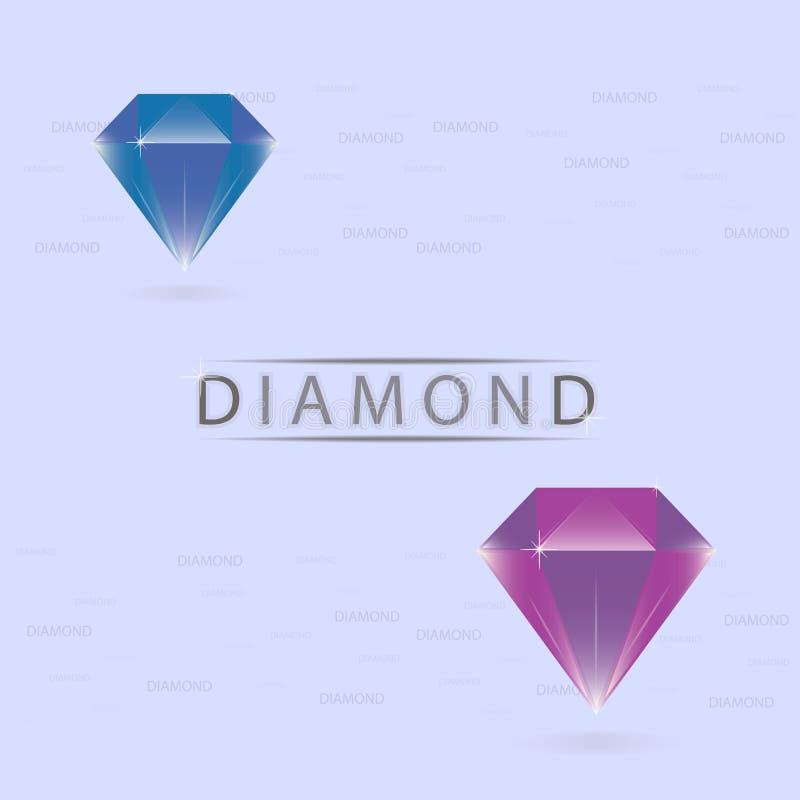Diamanten blauwe en purpere kleuren vector illustratie