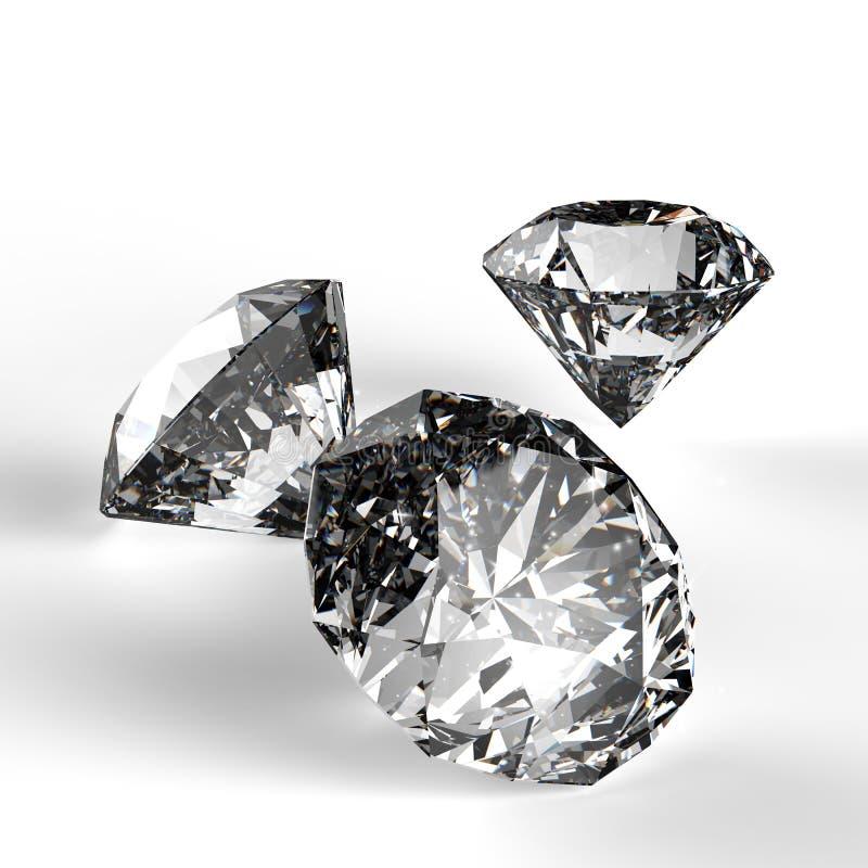 Diamanten 3d in samenstelling royalty-vrije illustratie