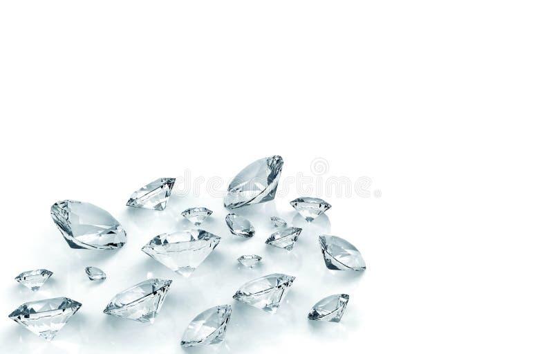 Diamanten die op wit worden geïsoleerds royalty-vrije illustratie