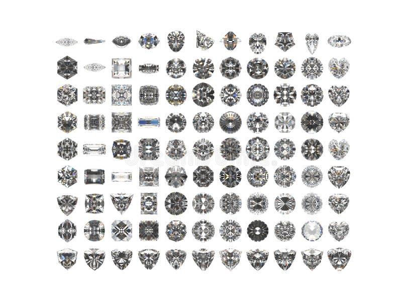 Diamanten die op witte achtergrond worden geïsoleerdt royalty-vrije illustratie