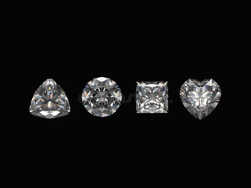 Diamanten die op zwarte achtergrond worden geïsoleerdr vector illustratie