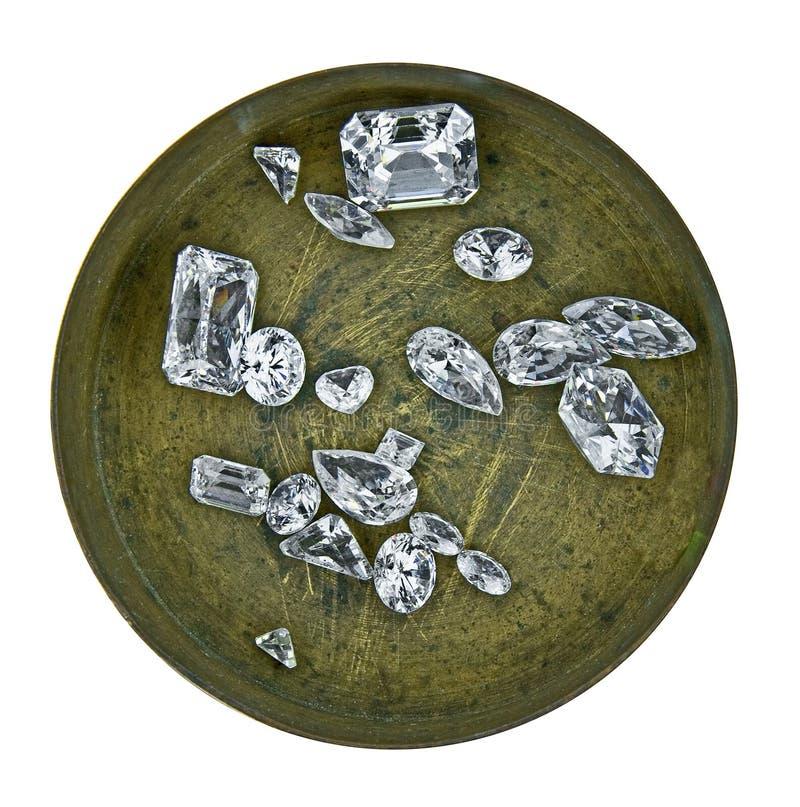 Diamanten in een doos royalty-vrije stock fotografie
