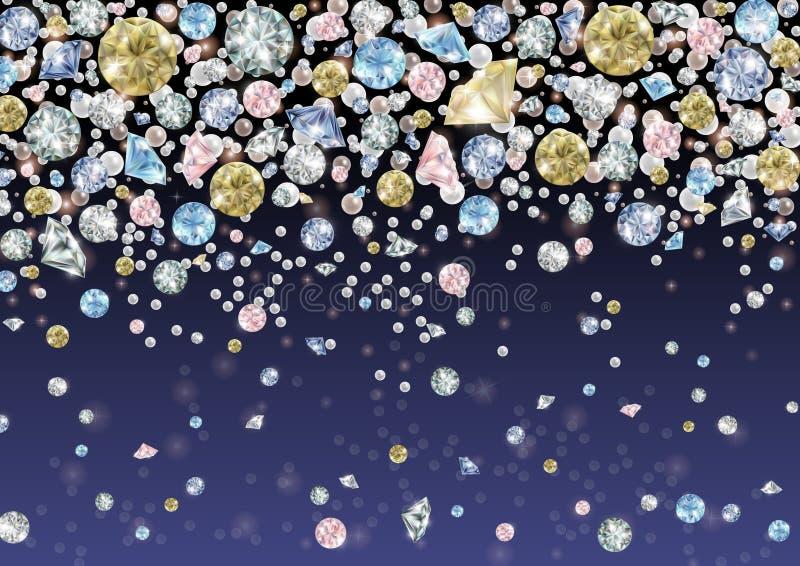 Diamanten en parelsachtergrond stock illustratie