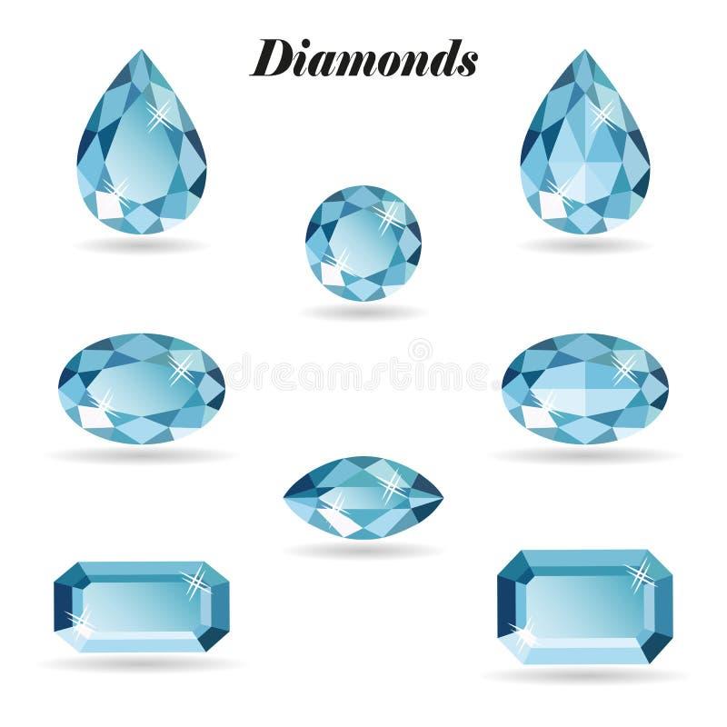 Diamanten geplaatst voorwerpen royalty-vrije illustratie