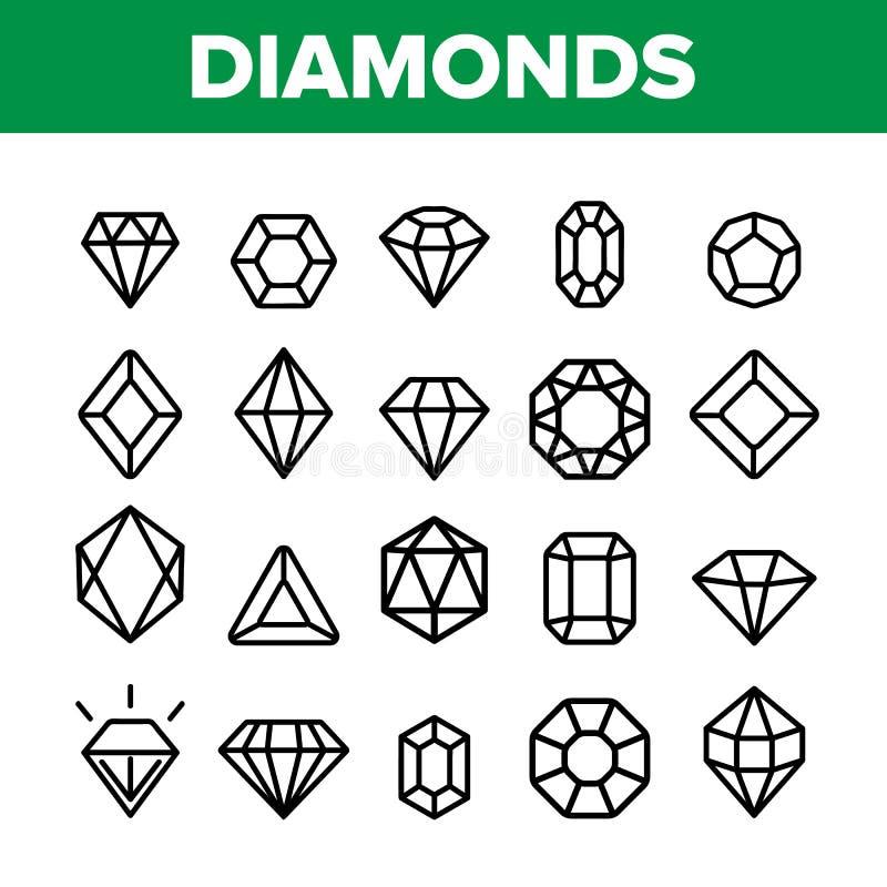Diamanten, Geplaatste Pictogrammen van de Gemmen de Vector Dunne Lijn stock illustratie