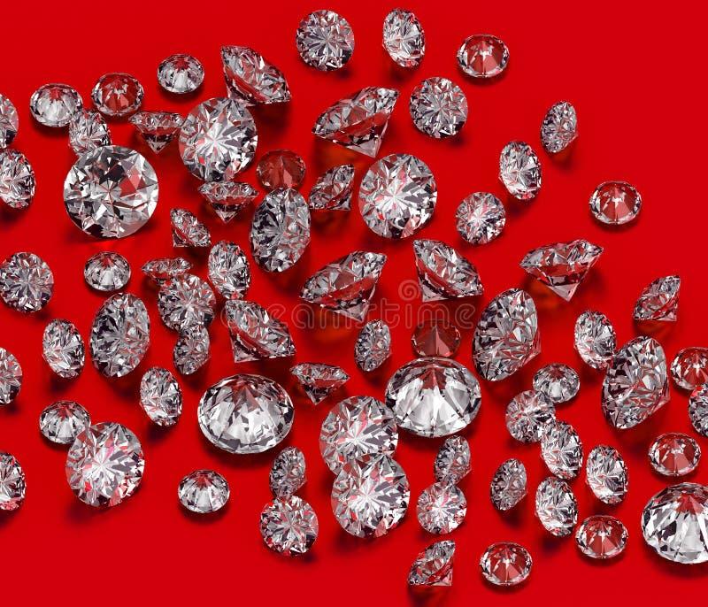 Diamanten gruppieren auf rotem Hintergrund lizenzfreie abbildung
