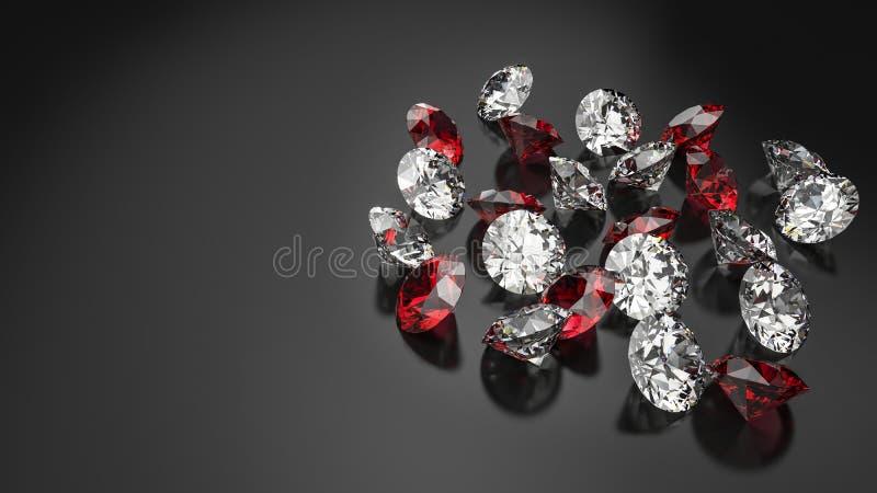 Diamanten lokalisiert auf dunklem Hintergrund lizenzfreie abbildung