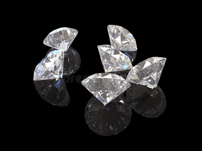 Diamanten met bezinning over zwart 3D teruggevend model als achtergrond royalty-vrije illustratie
