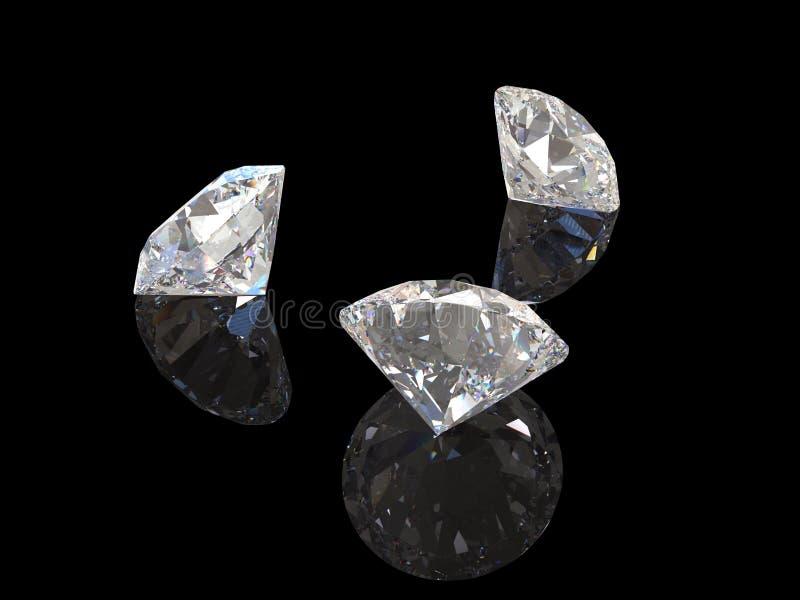 Diamanten met bezinning over zwart 3D teruggevend model als achtergrond stock illustratie
