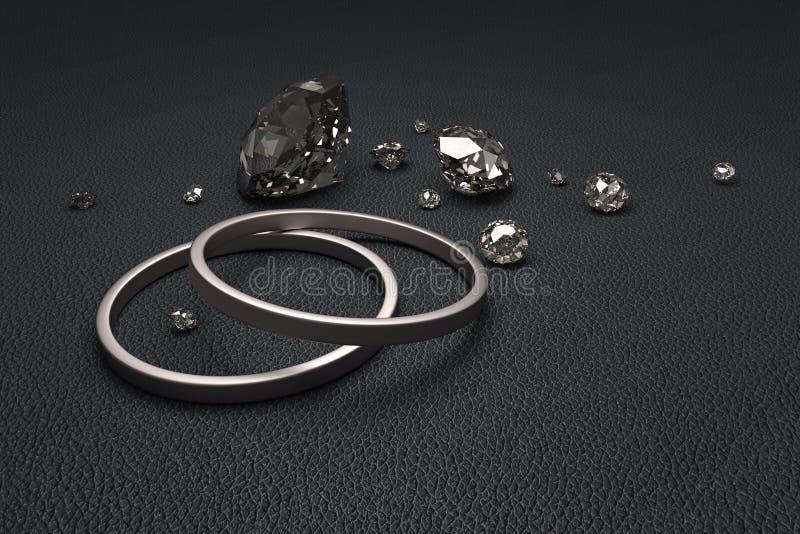 Diamanten met ringen stock illustratie