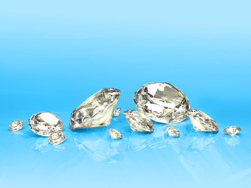 Diamanten op blauw vector illustratie