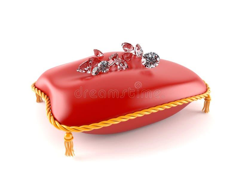 Diamanten op koninklijk hoofdkussen stock illustratie