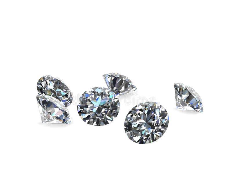 Diamanten op wit 3d model royalty-vrije illustratie